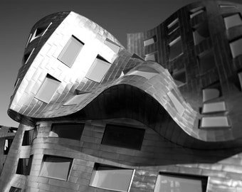 Architecture Print, Abstract, Modern, Office Decor, Frank Gehry, Silver, Gray, Black and White Travel Photography