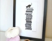 Whimsical Art Print/ Black Cat On Cushions/ Wall Art 6x8/ Black Friday Sale