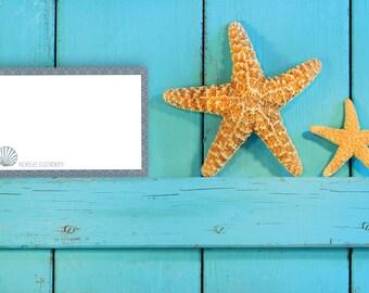 Notecard / Stationery - Personalized - Nautical Seashell - Printable File