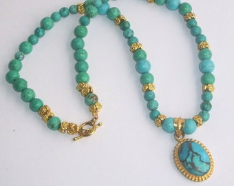 Big bold chunky Turquoise and Gold Natural stone statement Necklace choker