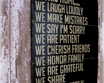 In This Home---House Rules---Antiqued Plank Typography Sign