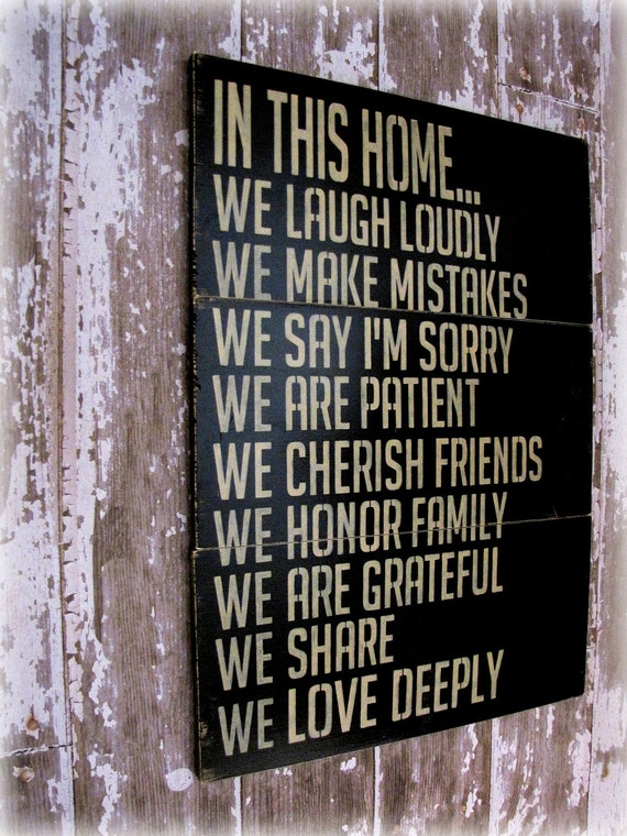 In This Home---House Rules---Antiqued Plank Typography Sign- In This House We