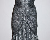 CLIMAX Vintage Dress Strapless Lace Ruched Metallic Rhinestone Wiggle
