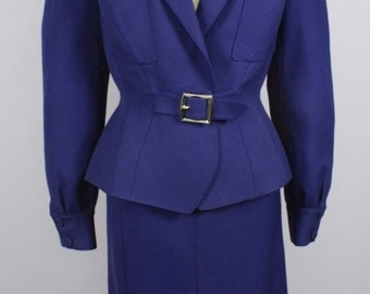 THIERRY MUGLER Vintage Suit Purple Jacket Skirt Two Piece Set - AUTHENTIC -