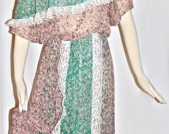 KOOS Van Den AKKER Vintage Silk Off Shoulder Dress Boho Prarie 2 Piece Top and Skirt - AUTHENTIC -