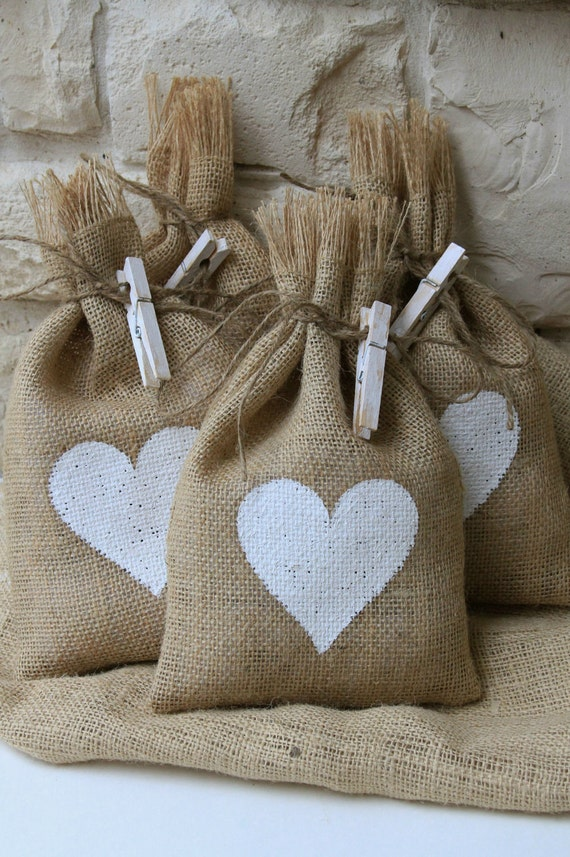 """Burlap Gift Bags, Set of Four, White Heart, 7"""" X 11"""", Shabby Chic Wedding, Valentines Day, Mothers Day, White and Natural, Baby Shower."""
