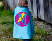 Girl SuperHero Cape with bolt Turquoise and Hot Pink - CUSTOM Gift for Kids Birthday present - personalized letter