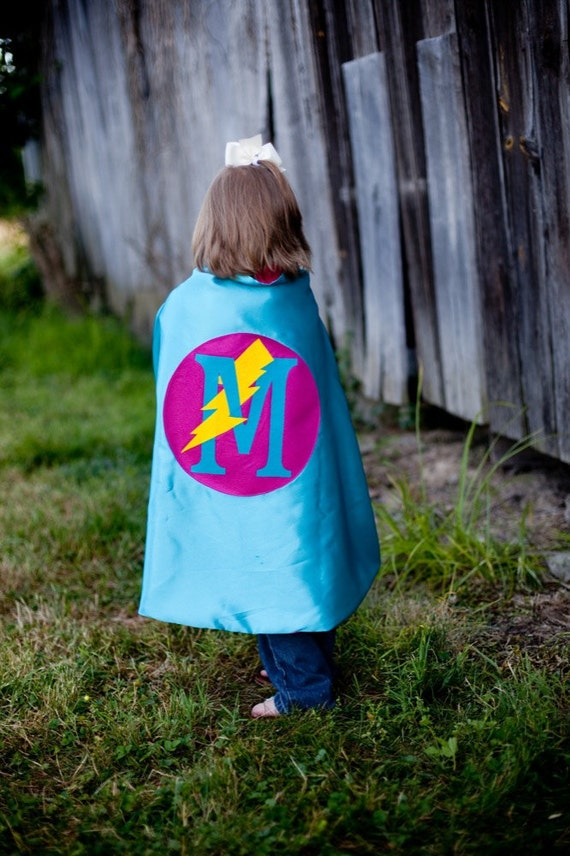 Personalized Initial Superhero Cape for kids Lightening Bolt Turquoise and Hot Pink , 2T - 7T, super hero costume photo prop fast delivery