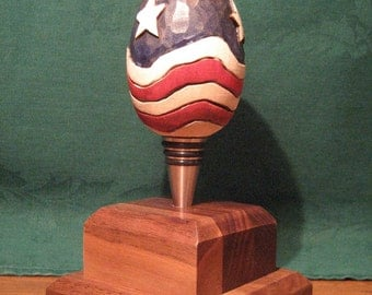 American Flag Wooden Egg Bottle Stopper Wood Carving Custom Carved Hand Carved Handmade Wine Whiskey Stopper Wood Carvers of Etsy