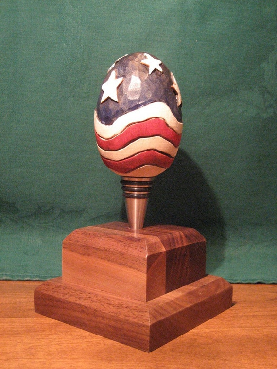 American Flag Wooden Egg Bottle Stopper                  Wood Carving Hand Carved Handmade