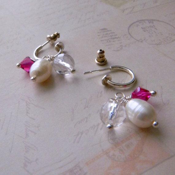 Small Hoop Earrings Pearl Interchangeable Earrings Convertible Earrings Womens Fashion Jewelry