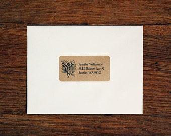 Custom Return Address Labels - Floral 01, Floral Address Labels, Rustic Wedding