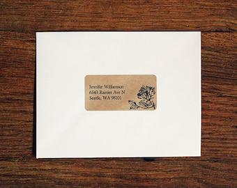 Floral Address Labels, Return Address Labels, Custom Printed Labels, Flower Address Labels, Wedding Return Address Labels - Floral 02