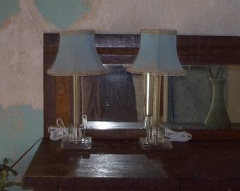 Vintage 1950s Pair Boudoir Lamps-Original Shades