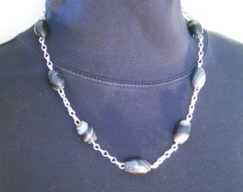 Chain Necklace Fine Silver Chain Handmade Banded Agate Beads Strand (FSN-602)