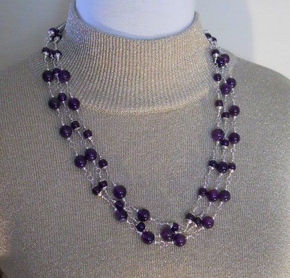 Amethyst Necklace Earring Set Sterling Silver Wire Wrapped Beads Gemstone Triple Strand Birthstone  (M-135)