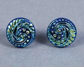 Dichroic Glass Earrings - Wave Earrings - Ocean Earrings - Blue Glass Earrings - Post Earrings - Blue Earrings
