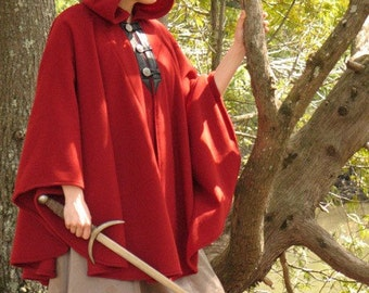Red Cape - Wool Cape -  Three Button Cape