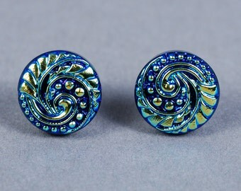 Dichroic Glass Earrings - Wave Earrings - Ocean Earrings - Blue Glass Earrings - Post Earrings - Blue Earrings