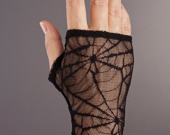 Short Lace Gloves with lovely web pattern,Black Fingerless lace gloves,Black lace glove,Fingerless black lace gloves,Womens black gloves