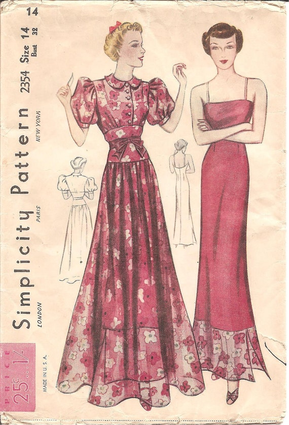 1930s Womens Puff Sleeve Dress & Slip - Vintage Sewing Pattern Simplicity 2354 - 32 Bust FACTORY FOLDS Puff Sleeves Bow Detail Floor Length