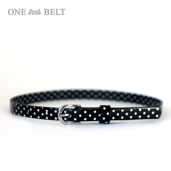 LAST IN STOCK Girl's Belt- Black Polka Dot