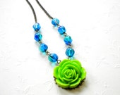 Flower Necklace Tropical Necklace Neon Green Necklace Rose Flower Pendant Ocean Necklace Tropical Jewelry Blue Glass Necklace