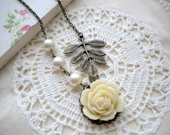 Flower Necklace Gift For Her Rose Necklace Romantic Jewelry Leaf Necklace Ivory Wedding Jewelry Ivory Bridesmaid Necklace Romantic Necklace