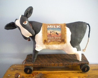 COW Pull Toy - Folk Art Dairy Cow - Primitive Farm Animal - Rustic - Soft Sculpture Home Decor - Vintage Style Toy Reproduction - BESSIE MAE