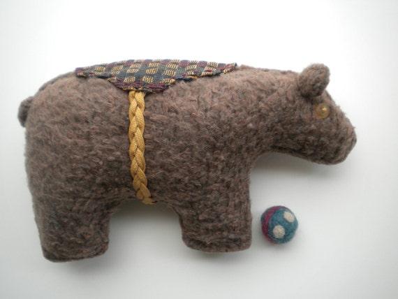 Brown BEAR - Soft Sculpture Bear Cub - Baby Nursery Decor - Kid's Rooms - Rustic Country - Woodland Animal - Folk Art Doll - MAYNARD