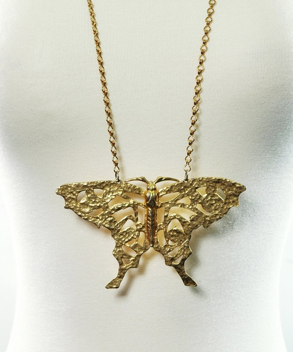 Vintage 70s BUTTERFLY Statement Necklace - Gold - HUGE Pendant