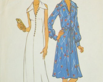 1970s Simplicity 6883 Sleeveless Button Front Dress Sewing Pattern Bust 44