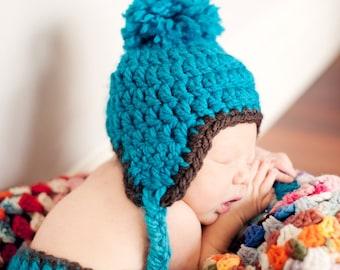 Crochet PATTERN 113, Beginner Crochet Newborn Chunky Earflap Hat & Matching Diaper Cover, Photography Prop
