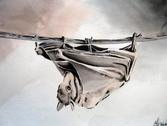 Baby Bat Watercolor Print 10X15 LAST ONE