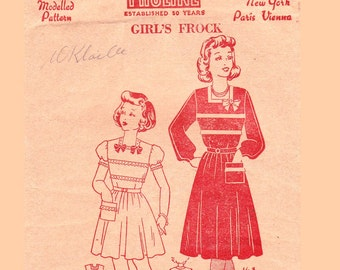 RARE 1940s Girls Sun Dress Pattern Pauline 168 Vintage Sewing Pattern Size 10 Breast 28 Inches
