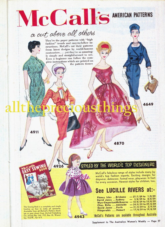 1950s Vintage Sewing Magazine Dressmaking Booklet by Lucille Rivers Retro Color Advertisements