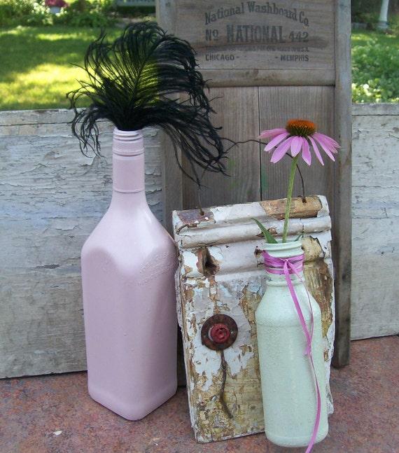 Shabby CHic Bohemian Decor. Wall Vase. Pistachio green. Antique Vanilla Creme. Shabby Prim