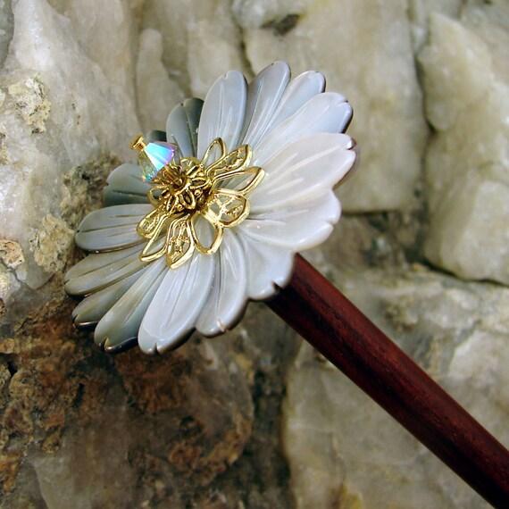 SALE Hair Stick - Black Lip Shell Flower and Swarovski Crystal Hair Accessory - Delilah