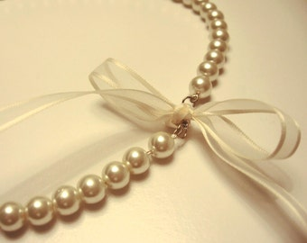 Made to Order Pearl and Ribbon necklace -pick your color   Great for Bridesmaid giftsets