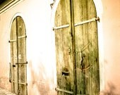 Rustic door Photography horse barn rustic aged wooden doors germany peach antique pink yellow arches - Antiquitaten - fine art photograph