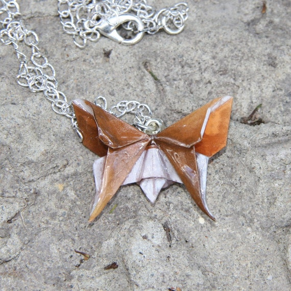 Origami Butterfly Pendant - Brown and White