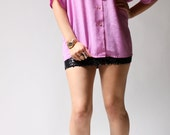 vintage 1950s blouse / 50s silky lilac blouse / Lily Zig Zag Blouse