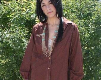 Brown Shirt Cotton Blouse Hippie Boho Western Top Vintage 70s M