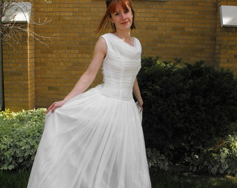 Vintage 50s Wedding Dress White Bridal Gown Formal S XS