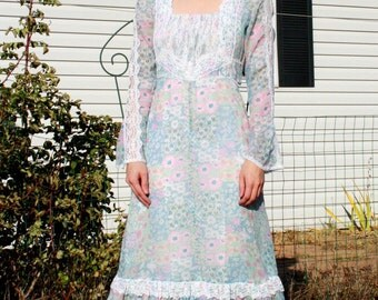 Gunne Sax Dress Floral Prairie Hippie Boho Maxi Vintage 70s XS