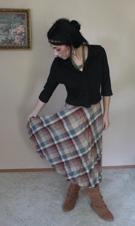 Vintage 70s Plaid Skirt Pleated Brown Beige Wool Blend Boho Country M