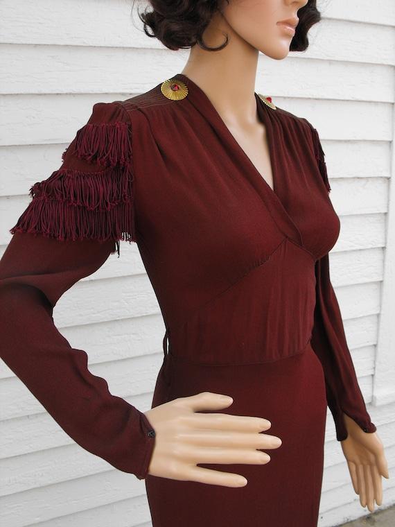 Vintage 40s Dress Fringe Deco Conchos Drape XS
