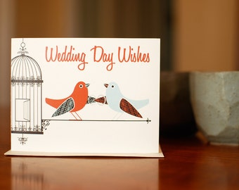 With this Wing I Thee Wed - Wedding Congratulations Card with Aqua & Red Birds