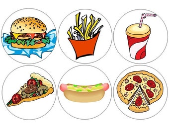 Junk Food pinback buttons set