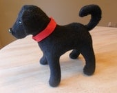Black Labrador Retriever Stuffed Animal with Red Collar